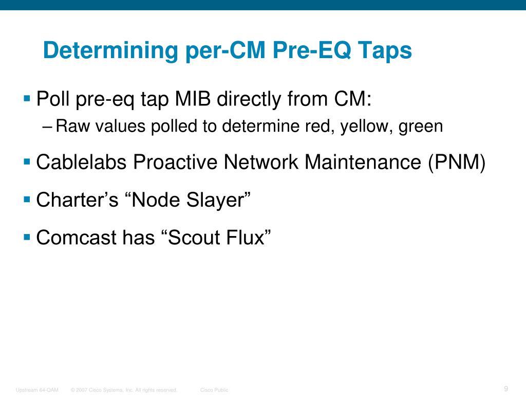 Determining per-CM Pre-EQ Taps