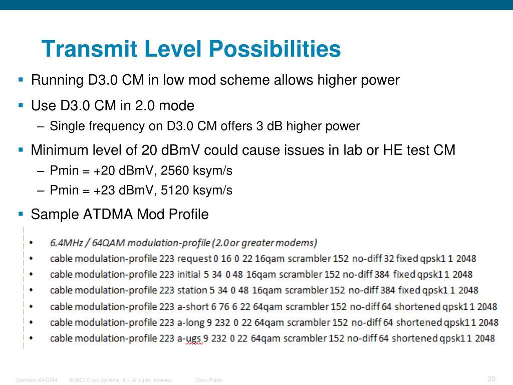 Transmit Level Possibilities