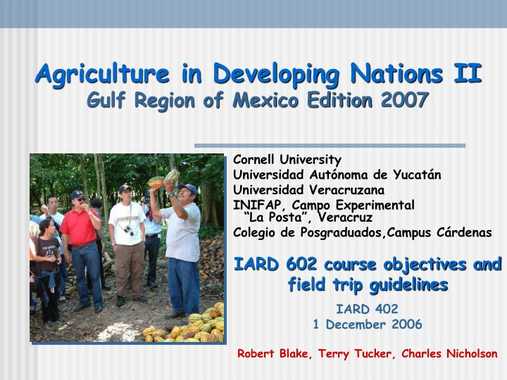 agriculture in developing nations ii gulf region of mexico edition 2007 n.