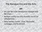 the baroque era and the arts7
