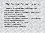 the baroque era and the arts9