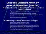 lessons learned after 2 nd year of operation cont d