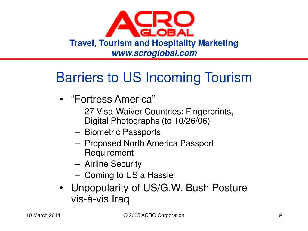Barriers to US Incoming Tourism