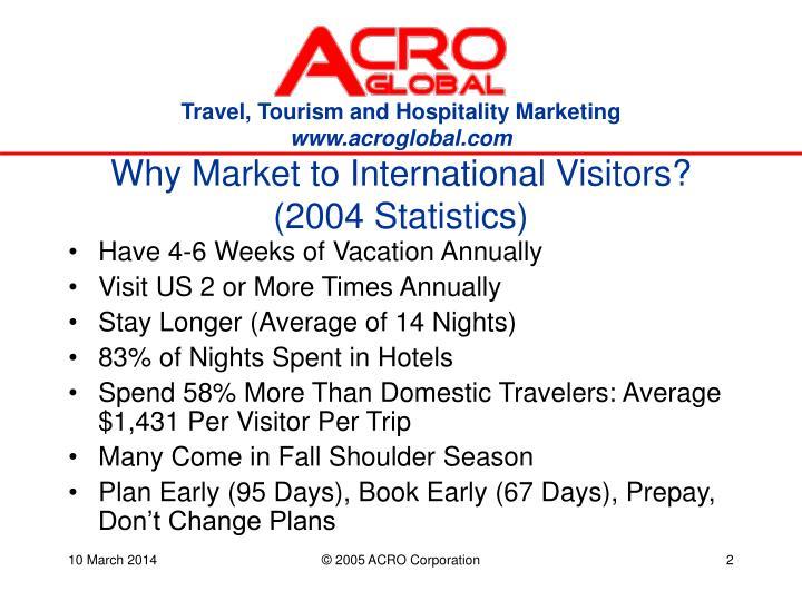 Why market to international visitors 2004 statistics
