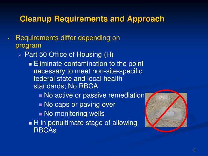Cleanup requirements and approach1