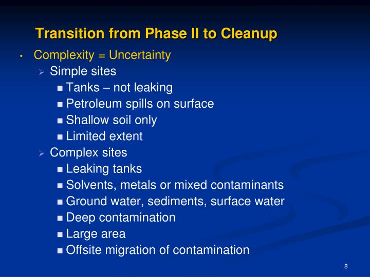 Transition from Phase II to Cleanup