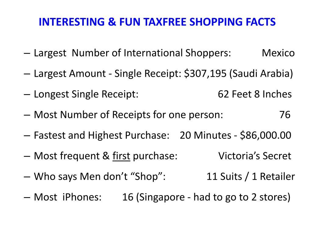 INTERESTING & FUN TAXFREE SHOPPING FACTS
