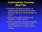 carbohydrate counting meal plan