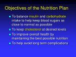 objectives of the nutrition plan