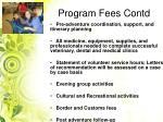 program fees contd