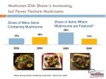 mushroom dish share is increasing but fewer feature mushrooms