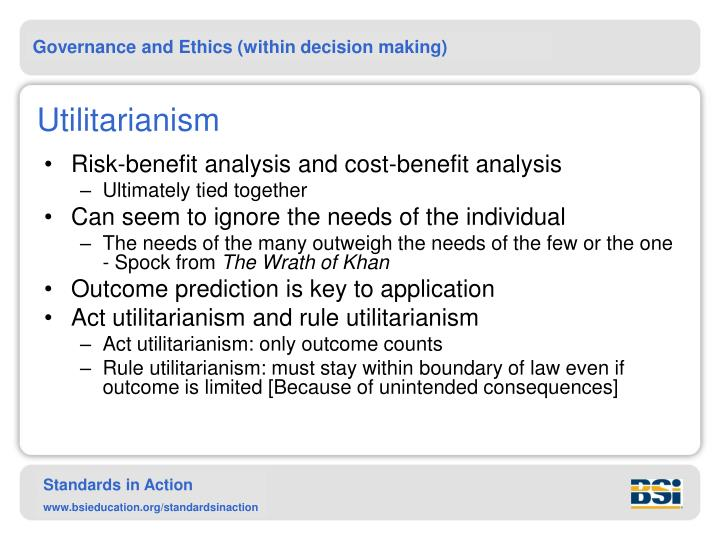 a description of the utilitarianism concept and ethics 22 utilitarian ethics utilitarian ethics is a normative ethical system that is primarily concerned with the consequences of ethical decisions therefore it can be described as a teleological theory or consequentialist theory, which are essentially the same thing, both having a notion that the consequence of the act is the most important determinant of the act being moral or not.