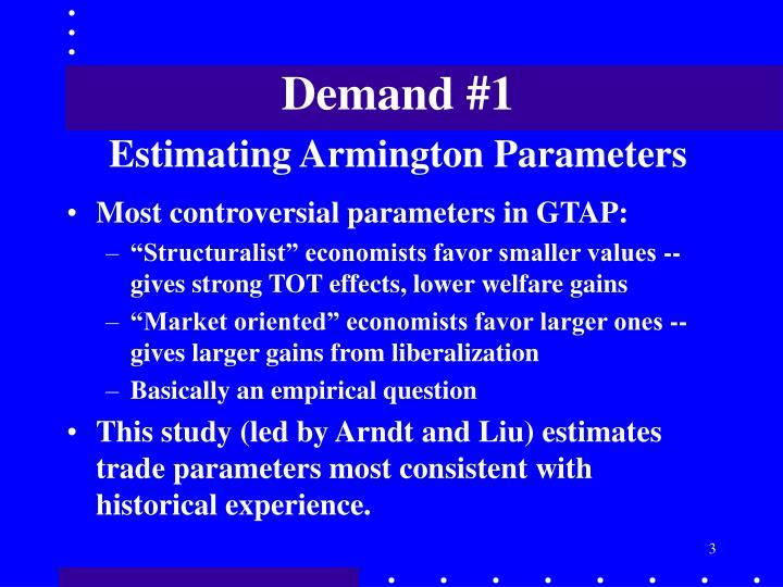 Demand 1 estimating armington parameters