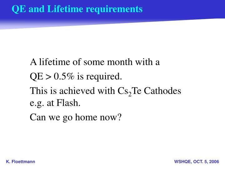 Qe and lifetime requirements