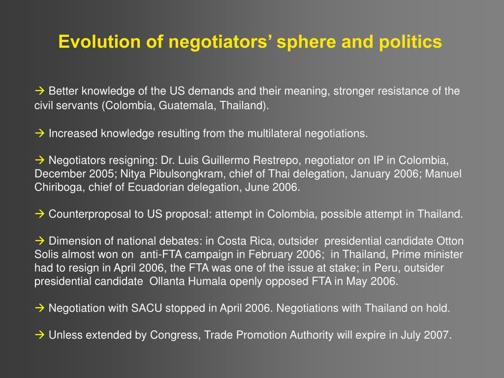 Evolution of negotiators' sphere and politics