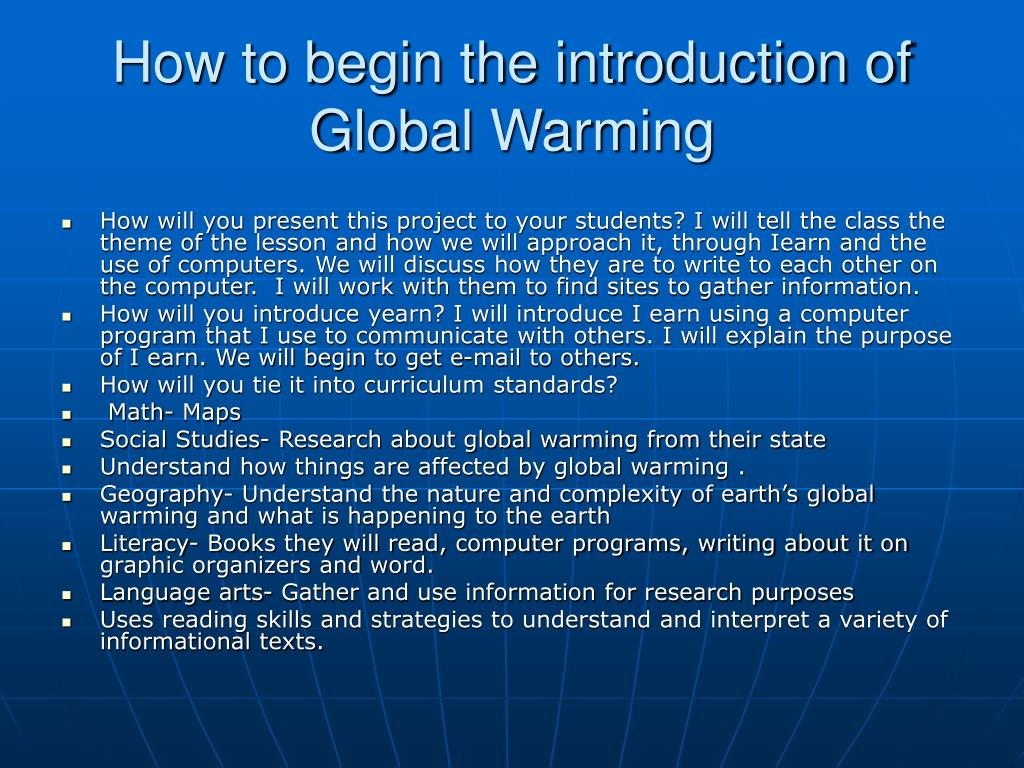 How to begin the introduction of Global Warming