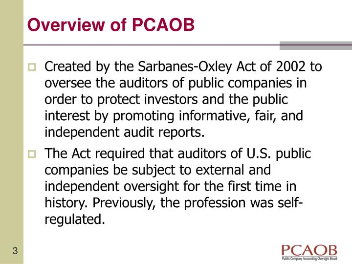 Overview of pcaob