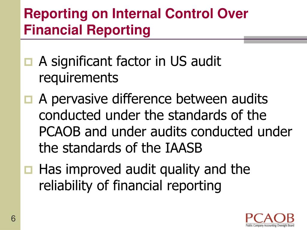 Reporting on Internal Control Over Financial Reporting