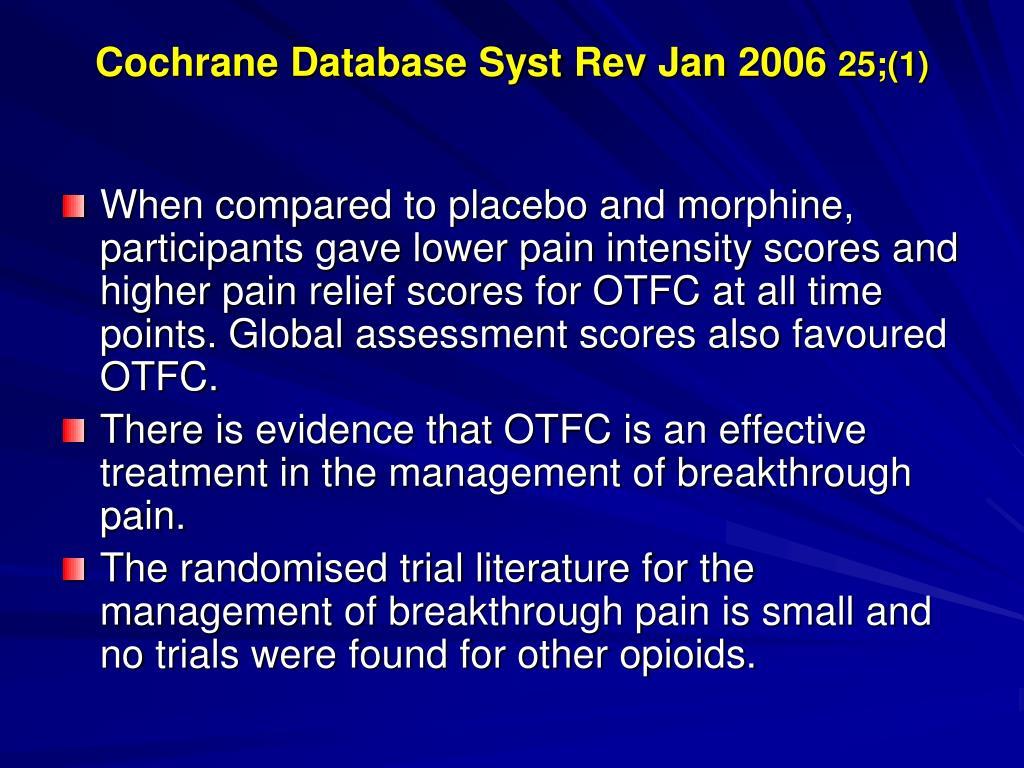 Cochrane Database Syst Rev Jan 2006