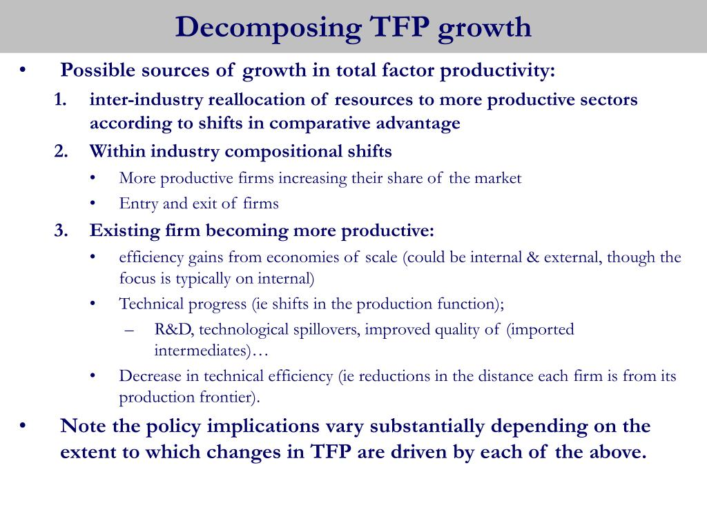 Decomposing TFP growth
