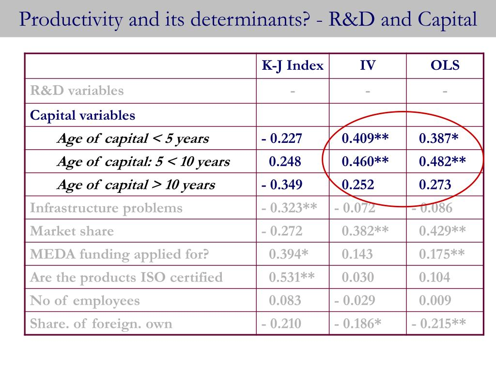 Productivity and its determinants? - R&D and Capital
