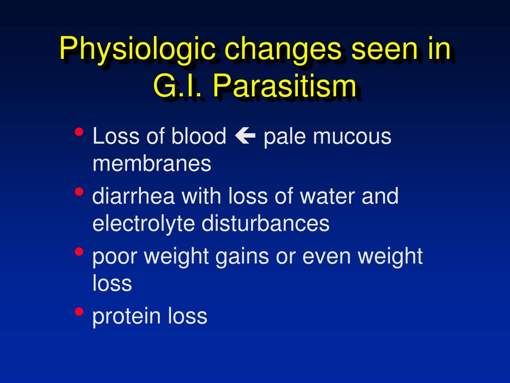 Physiologic changes seen in G.I. Parasitism
