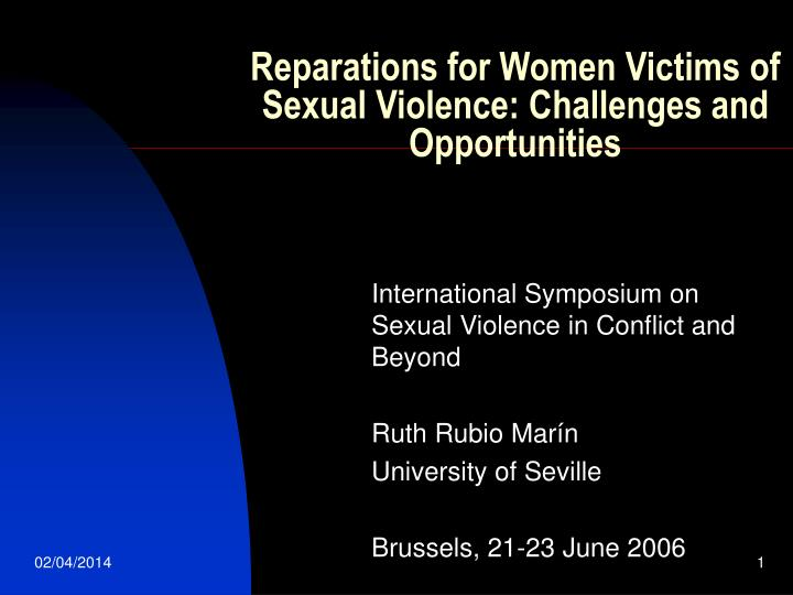 reparations for women victims of sexual violence challenges and opportunities n.