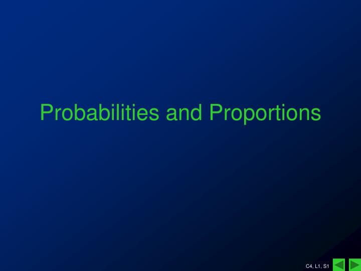probabilities and proportions n.