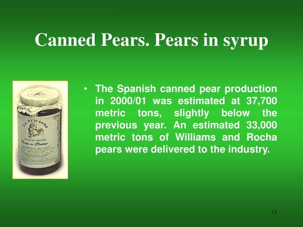 Canned Pears. Pears in syrup