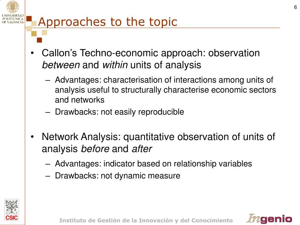 Callon's Techno-economic approach: observation
