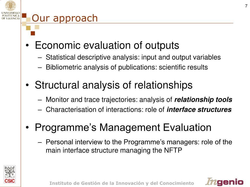 Economic evaluation of outputs
