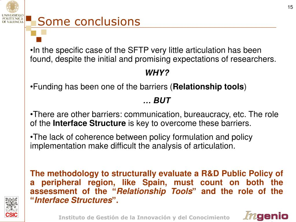 In the specific case of the SFTP very little articulation has been found, despite the initial and promising expectations of researchers.