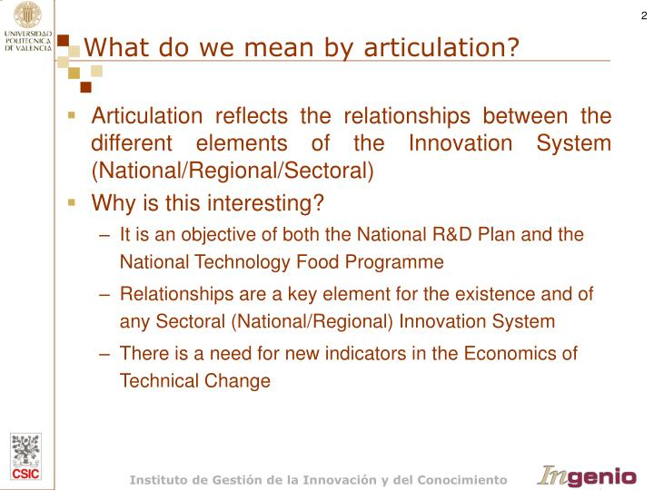 What do we mean by articulation