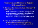 consequences of failure to register if required cont49