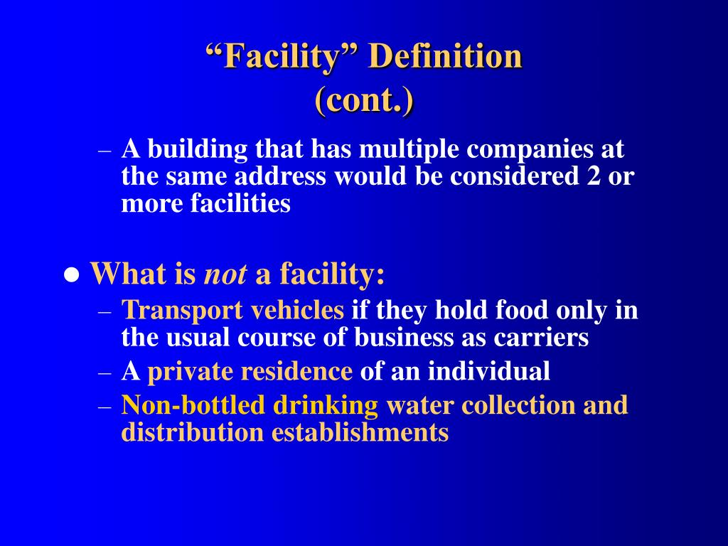 """Facility"" Definition"
