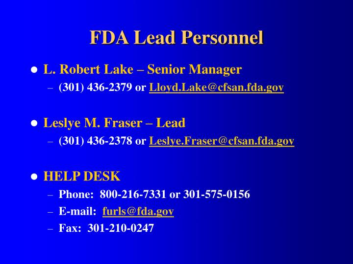 Fda lead personnel