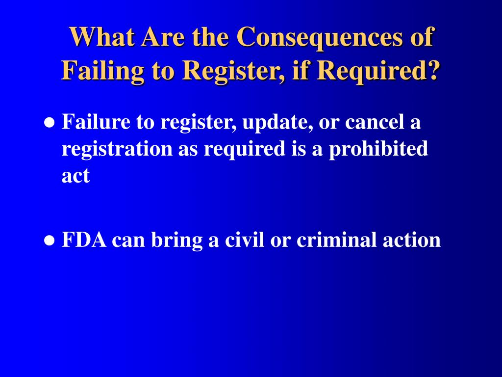 What Are the Consequences of Failing to Register, if Required?