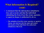 what information is required cont33