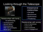 looking through the telescope