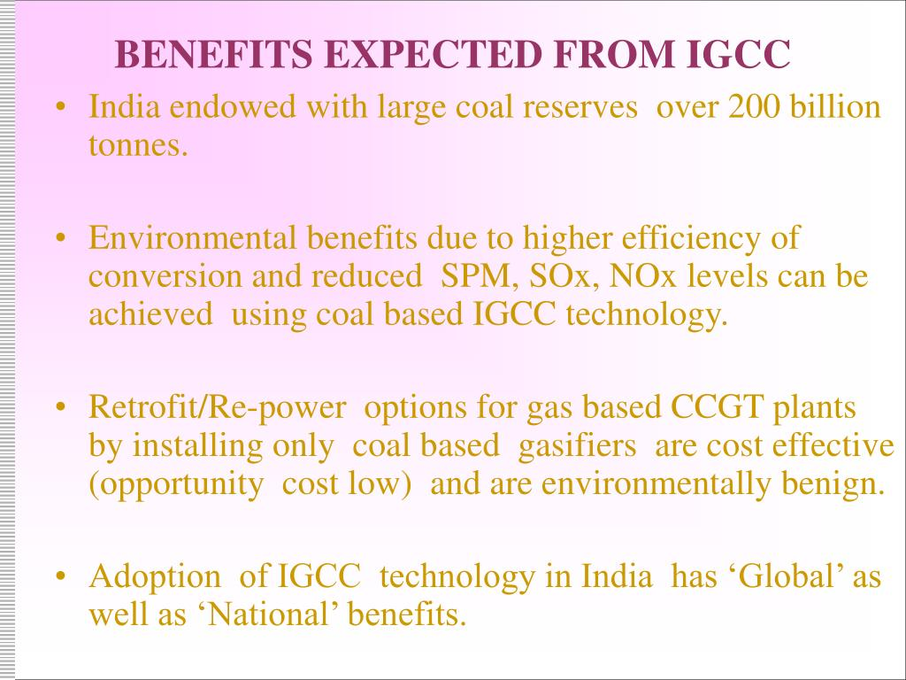 BENEFITS EXPECTED FROM IGCC