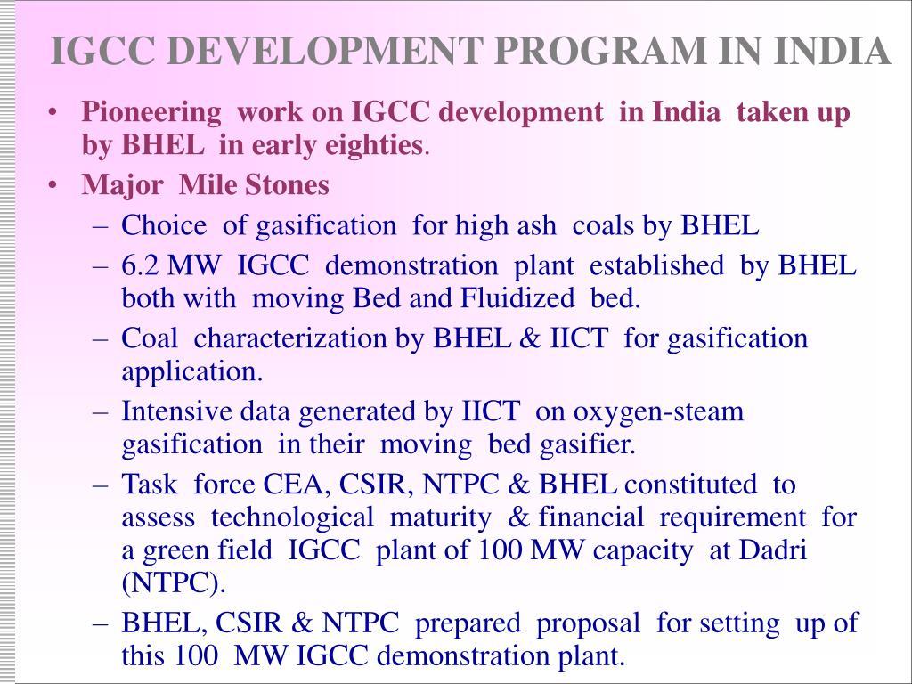 IGCC DEVELOPMENT PROGRAM IN INDIA