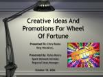 creative ideas and promotions for wheel of fortune