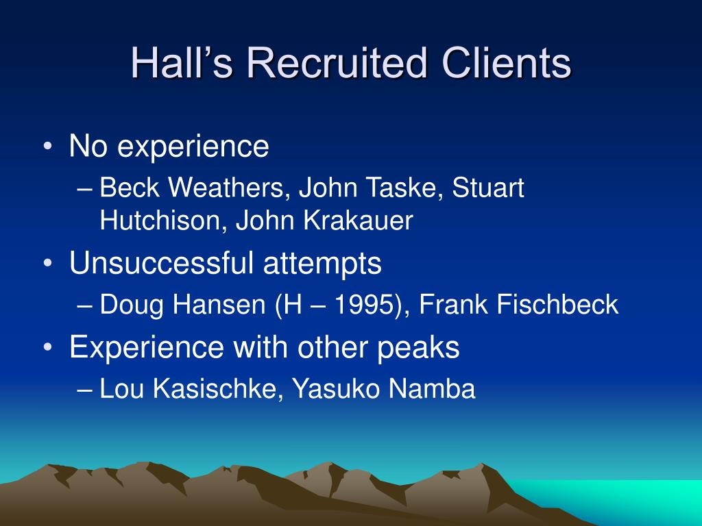 Hall's Recruited Clients