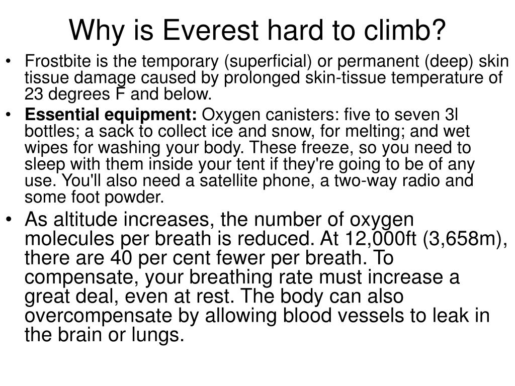 Why is Everest hard to climb?