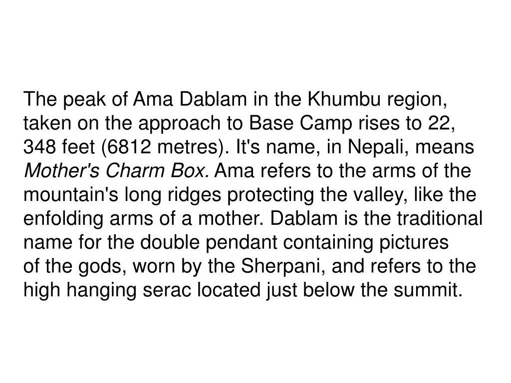 The peak of Ama Dablam in the Khumbu region,