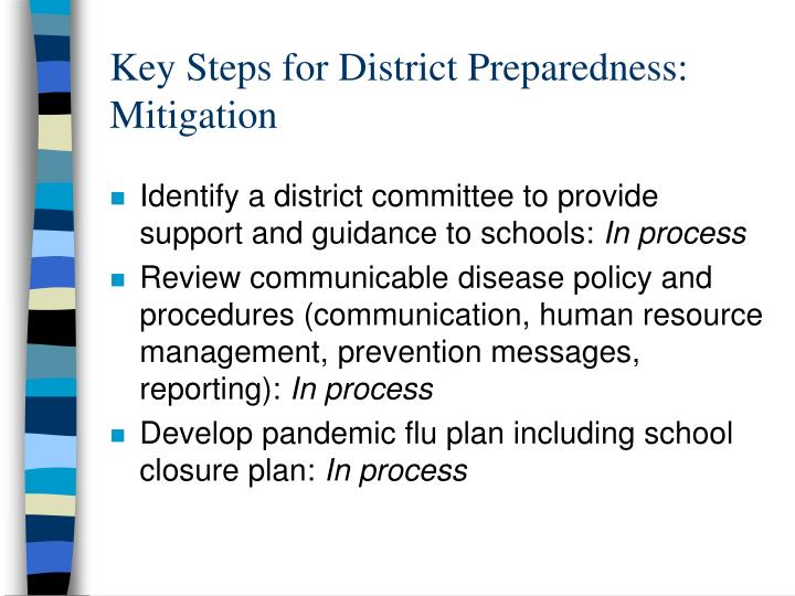 Key Steps for District Preparedness: Mitigation