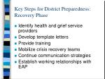 key steps for district preparedness recovery phase