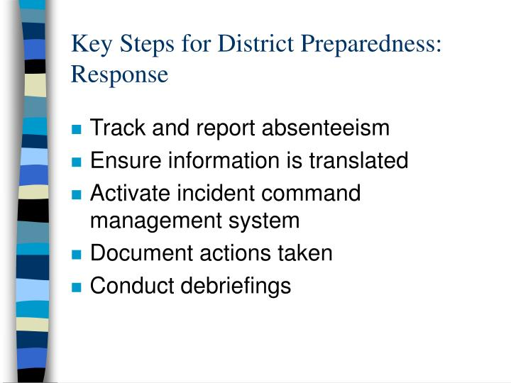 Key Steps for District Preparedness: Response