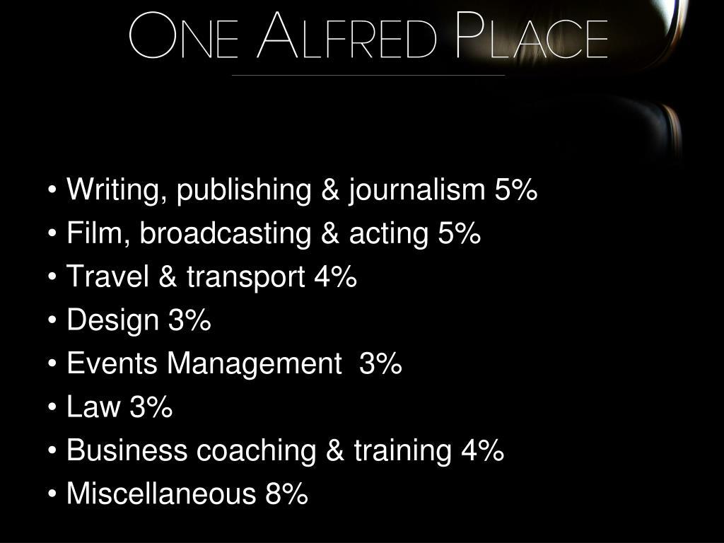 Writing, publishing & journalism 5%