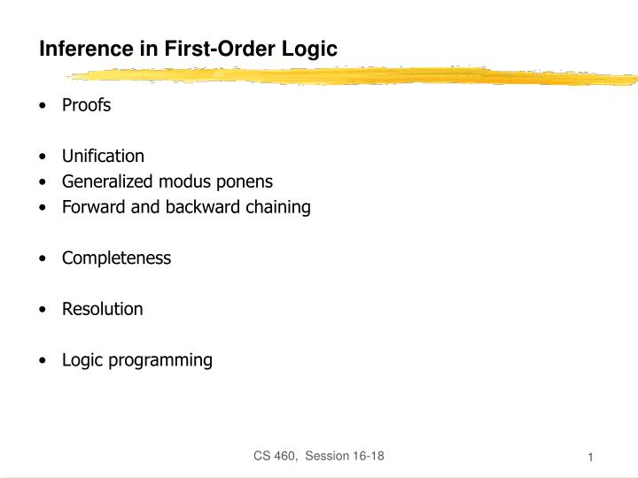 inference in first order logic n.